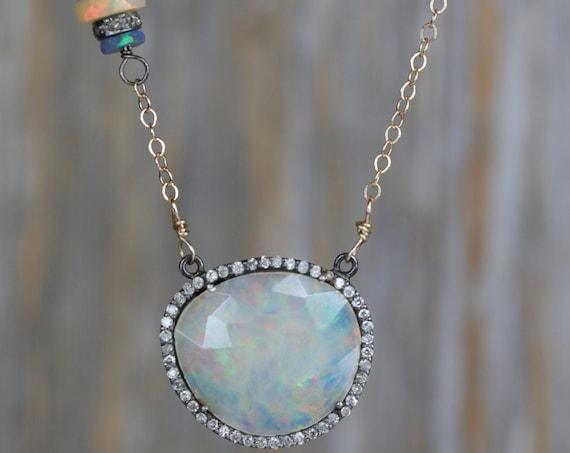 Opal Gemstone Pave Diamond Halo Pendant Necklace
