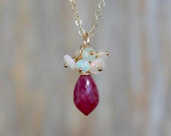 Ruby Opal Cluster Necklace*Genuine Ruby Marquise Teardrop*Ethiopian Welo Opals*October Birthday Birthstone Women's Jewelry Gift Idea