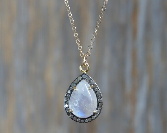 Moonstone Diamond Teardrop Pendant Necklace *Genuine Diamond* Sterling Silver *Gold *June Birthstone Women's Jewelry Gift Idea for Her