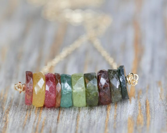 Watermelon Tourmaline Necklace-Rainbow Gem Bar Necklace-Rainbow Tourmaline Necklace-October Birthstone-Boho Chic Bar Necklace