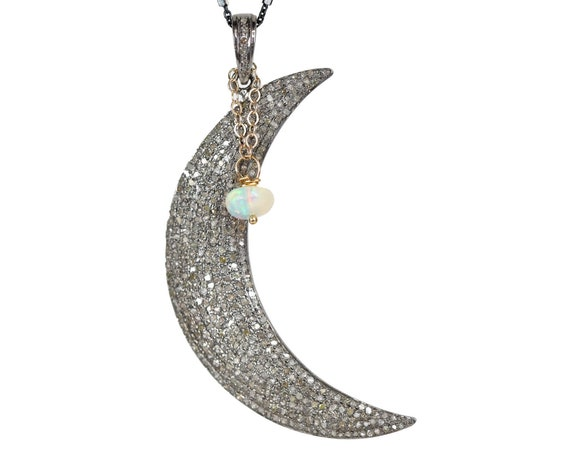 Large Diamond Moon Necklace Opal Gemstone