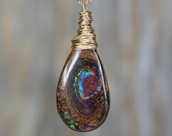 Large Australian Boulder Opal Pendant Necklace- 14k Gold October Birthstone October Birthday Gift Idea Gift for Her Boho
