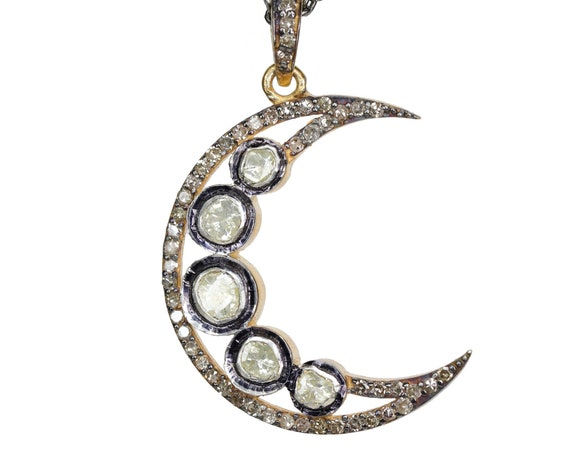 Large Diamond Moon Necklace*Rose Cut Diamond*Crescent Moon*Mother's Day*Anniversary Wedding Engagement* Women's Jewelry Victorian Style