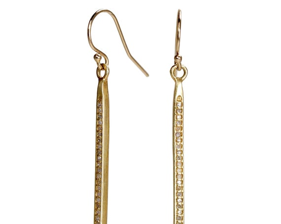 "Genuine Diamond Spike French Hook Earring Real Diamond 14k Yellow Gold Filled - 2.3"" Length"