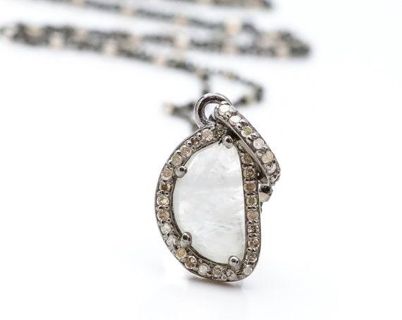 Genuine Moonstone Diamond Moon Pendant Necklace*Sterling Silver 925 *Women's Jewelry*Graduation Gift Idea*Wedding*June Birthstone Birthday