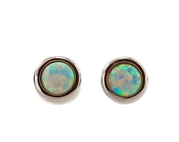 White Opal Stud Earring *925 Sterling Silver *5mm* Women's Jewelry Mother's Day Gift Idea