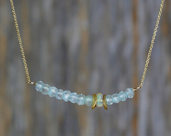 Genuine Aquamarine Gemstone Bar Necklace Ethiopian Welo Opal * Asymmetrical 14k Gold-Filled * October Birthstone * Birthday Gift for Her