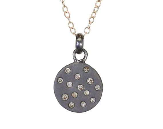 Diamond Disc Necklace Diamond Circle Pendant Necklace *Matte Sterling Silver *Mother's Day Gift Idea - Graduation- April Birthstone