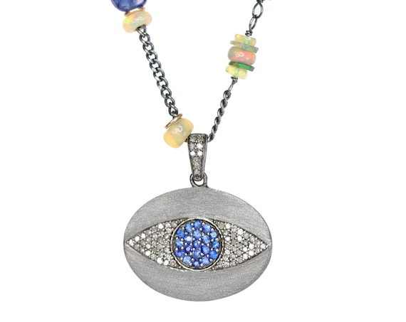 Evil Eye Pendant Necklace Blue Sapphire blue opal Pave Diamond Black Opal jewelry sterling silver gift for her beaded womens gift