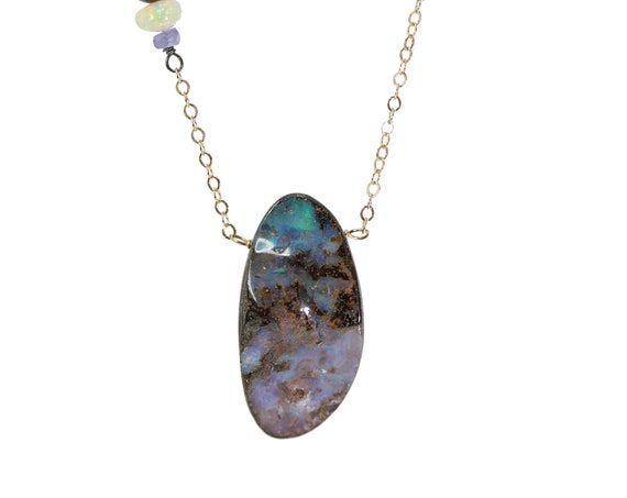 Australian Boulder Opal Pendant Necklace- 14k gold filled - oxidized sterling silver- mixed metal- Asymmetrical - October Birthstone