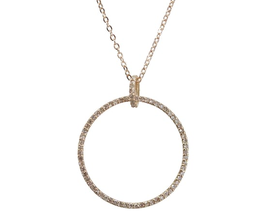 14k Gold Genuine Diamond Circle Necklace* Eternal Love Women's Fine Jewelry Gift Idea
