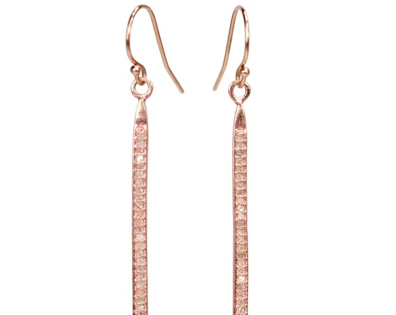 "Rose Gold French Hook Pave Diamond Spike Earring- 2.3"" Length"