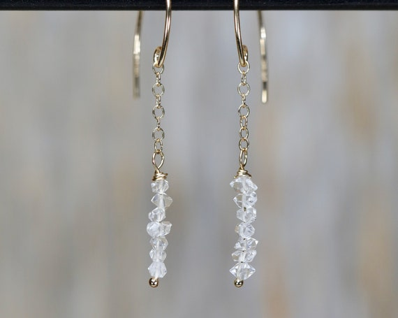 Herkimer Diamond Earrings Threader Long Thin Drop Dangle clear Quartz earrings- 14k gold filled- Stack Earrings