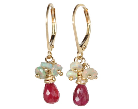 Ruby earring Opal cluster Earrings Gold filled Ethiopian natural opal earring ruby gemstone gift for her July birthstone October birthstone