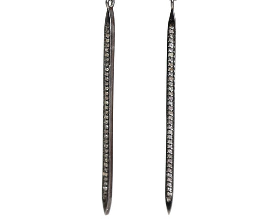 "Genuine Diamond Spike Lever Back Earring Champagne Diamond Sterling Silver- 2.7"" length"