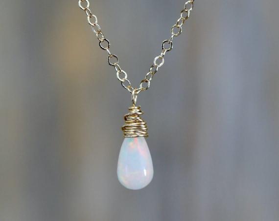 Small White Opal Teardrop Necklace