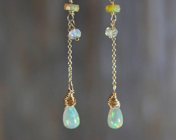 fire opal earrings Ethiopian White Welo Opal Teardrop Gemstone Post Earrings 14k gold filled gift For Her wedding jewelry gift for her