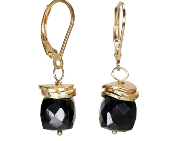 Black Onyx Cube Earring Faceted Black onyx gemstone beaded earring simple elegant gold filled earring Gift for her