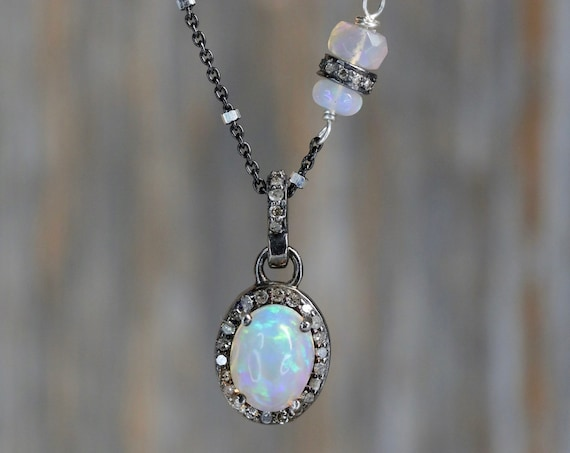 Opal Diamond Oval Pendant Necklace* Ethiopian whit and semi-black opals* sterling silver* pave diamonds* asymmetrical *October birthstone
