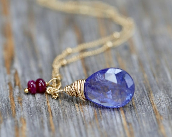 Tanzanite Ruby Gemstone Necklace* Tanzanite Pendant Tanzanite Teardrop Necklace -Gold- Gift for her December Birthstone December Birthday