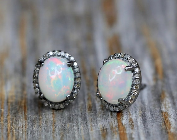 Opal Stud Earrings white opal stud genuine pave diamond natural Ethiopian opal gemstones elegant statement earrings October birthstone gift