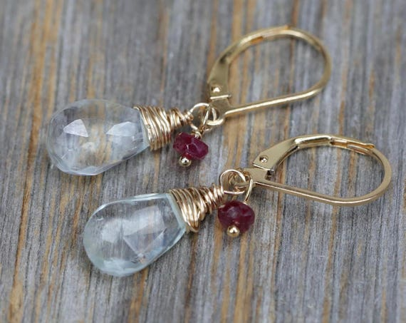 Aquamarine Earring Aqua Birthstone Earring March Birthstone Gift For Her Ruby aquamarine aqua blue gemstone Earrings beaded