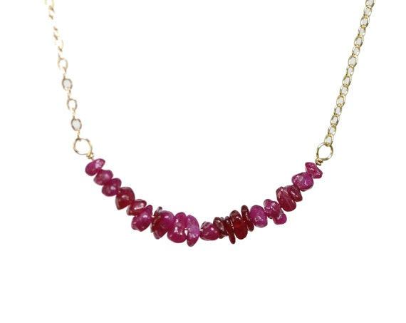 Raw Ruby Bar Necklace