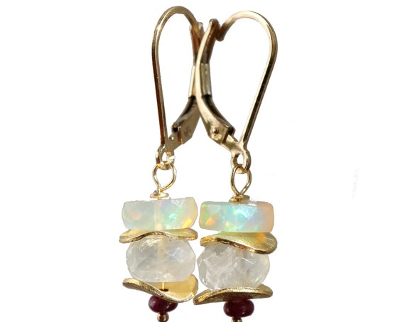 Opal Ruby Moonstone Earrings-Ethiopian Welo Opal Rainbow Moonstone Stack Earrings- 14k Gold Filled Women's Jewelry Gift Idea