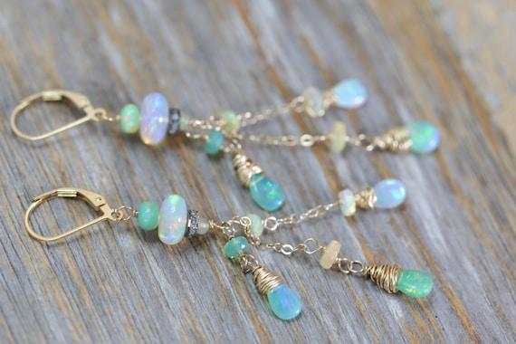 Green Ethiopian Opal Cascade Earrings Pave Diamond Long thin Earring Wedding Jewelry October birthstone beaded Earring