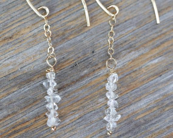 Herkimer Diamond Earrings Threader Long Thin Drop Dangle clear Quartz earrings- 14k gold filled- Stack Earrings