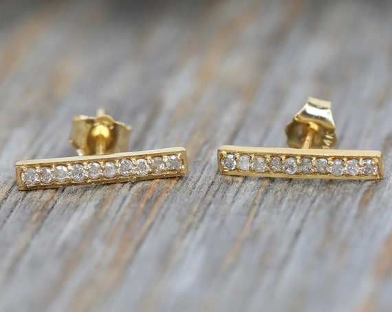 Minimalist Diamond bar stud Diamond Staple Stud - Genuine white diamond and 14K gold