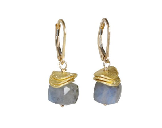 Faceted Labradorite Cube Stack Earrings