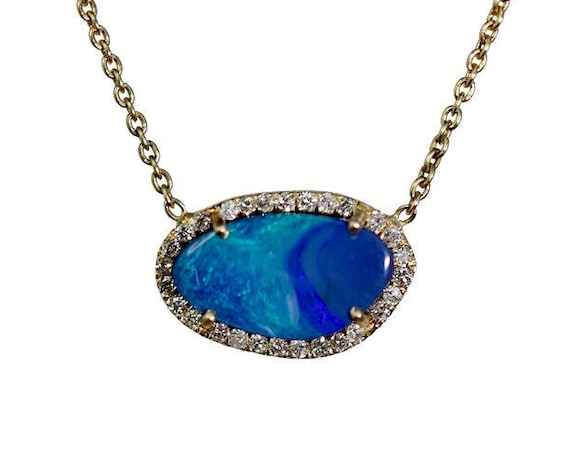 14k Gold Australian Blue Boulder Opal Pendant Necklace- Genuine Pave White Diamonds - Women's Jewelry- Mother's Day Gift Idea- Wedding