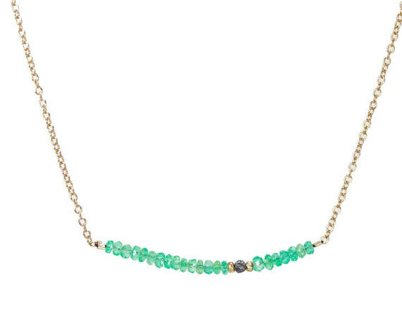 Genuine Colombian Emerald Necklace with Raw Rough Black Diamond