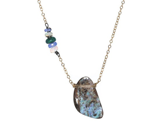 Australian Boulder Opal Pendant Necklace- 14k gold filled - oxidized silver- mixed metal- Asymmetrical - October Birthstone Birthday Gift