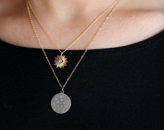 Diamond Disc Necklace Genuine Diamond Pendant Necklace*Matte Sterling Silver* Mother's Day Gift Idea*April Birthstone*Graduation