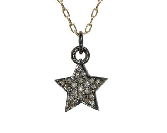 Genuine Diamond Star Necklace- Celestial Jewelry- Gift Idea- 14k Gold Filled - Women's Jewelry Gift Idea