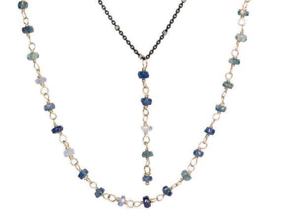 Blue sapphire layering necklace sapphire y necklace sapphire gold necklace gift for her September birthstone lariat multi strand necklace