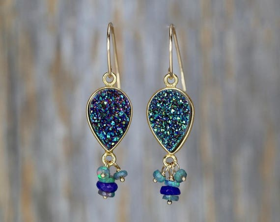 Green Druzy with Purple and Black Opal Gemstone Earrings * Beaded Drop Dangle Earring* Genuine druzy and opal stones * Unique