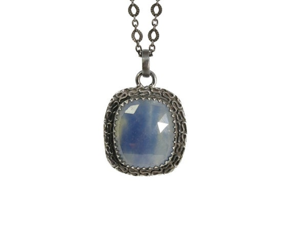 Blue Sapphire Pendant Necklace- Oxidized Sterling Silver-