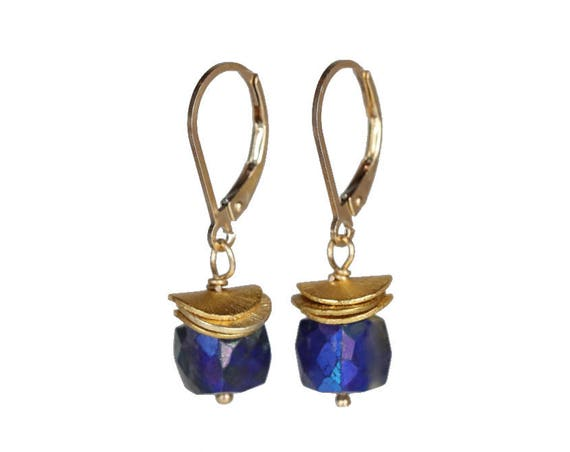 Lapis Lazuli gemstone cube earring Boho stack earring Gold lapis Drop Earring Gift for Her
