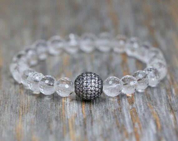 Clear Rock Quartz Crystal Bracelet Oxidized Gun Metal Pave Crystal*