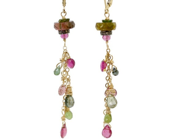 Watermelon Tourmaline Diamond Gemstone Cascade Earrings- Women's Jewelry October Birthstone Birthday Gift Idea