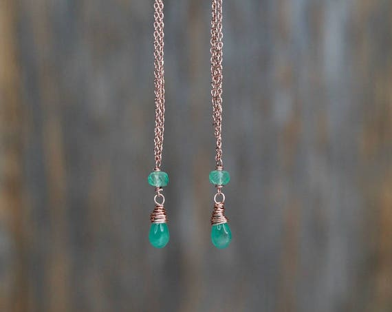 Sexy Emerald Drop Earrings* Rose Gold