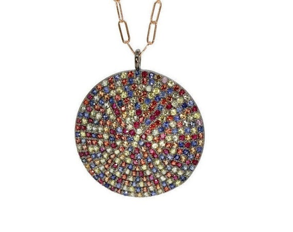 Pave Sapphire Disc Necklace