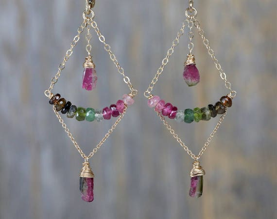 Tourmaline Chandelier earrings October birthstone earring rose gold sterling silver Tourmaline slice earring tourmaline crystal gift for her