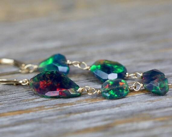 Ethiopian Black Opal Earrings- Opal Dangle-Mismatched Opal Earrings-Green Opal-Blue Opal-Solid 14 karat Gold-Welo Opal-October Birthstone
