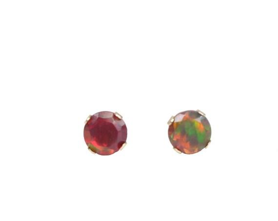 Black opal stud earring 14k gold prong stud Real Ethiopian black Opal earring 4mm October birthstone opal 14 karat gold stud gift for her