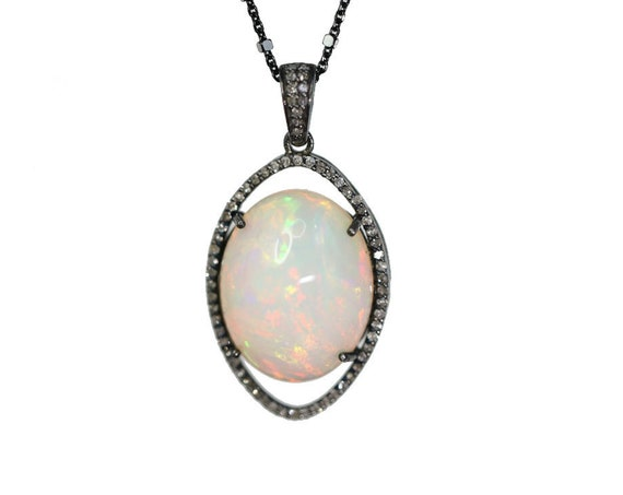 Large Oval Opal Diamond Pendant Necklace* Ethiopian Welo Opal * Pave Full Cut Diamonds* Mother's Day* Anniversary* Wedding* Gift for Her