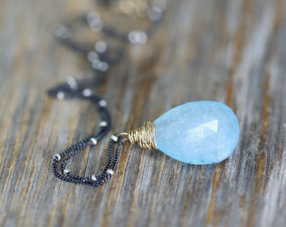 Aquamarine Gemstone Pendant Necklace*March Birthstone Birthday Gift Idea for Her*Women's Jewelry Mixed Metal*Sterling Silver